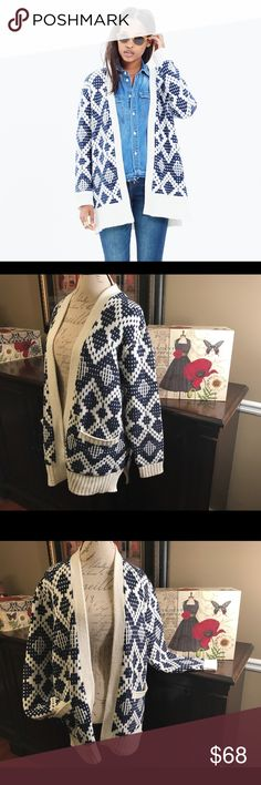 Madewell Fair Isle Cardigan-Blue/White, Large Madewell Fair Isle Cardigan Sweater-Blue/White, Large (Fits Larger)  I do not trade.  It's super warm. It's soft and comfy. What more could you ask for?  There are two front open pockets. This fits larger, so there's lots of room and it's great for layering. This sweater would look great with a button-down shirt, jeans, and cute boots. Fabulous condition!   Bust- 50 inches (25 inches across) Length- 28 inches from shoulder to hem Material…