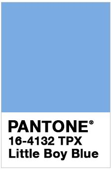 PANTONE 16-4132 TPX Little Boy Blue For Spring 2018. With the expectation of the clear blue sky, Little Boy Blue is no longer for little boys only. Suggestive of expansiveness and continuity, this azure blue shade reassures us with its promise of a new day.