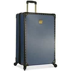 """Vince Camuto Loma 28\"""" Hardside Spinner Suitcase ($144) ❤ liked on Polyvore featuring bags, luggage and blue"""