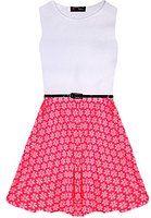 Parte ceñido vestido de las muchachas del patinador rosado de neón retro floral blanco Nueva Edad 5 6 7 8 9 10 11 12 13 Años