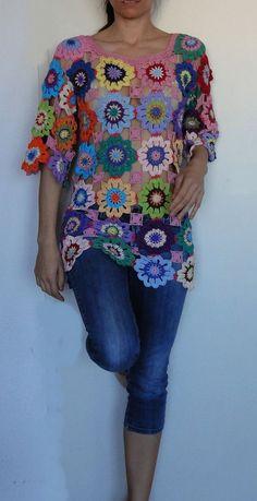 Crochet hippie retro vintage style boho gypsy floral by GlamCro, $500.00