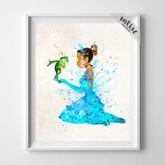 Tiana Print, Tiana Art, Tiana and Frog Art, Disney Poster, Watercolor Print, Decor Idea, Giclee Art, Nursery Decor, Type 3, Gift For Him, Wall Art. PRICES FROM $9.95. CLICK PHOTO FOR DETAILS.#inkistprints #watercolor #watercolour #giftforher #homedecor #wallart #walldecor #poster #print #christmas #christmasgift #weddinggift #nurserydecor #mothersdaygift #fathersdaygift #babygift #valentinesdaygift #painting #dorm #decor #livingroom #bedroom
