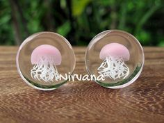 Pink Pyrex Glass Jellyfish Plugs by NirvanaGlassMods Ear Jewelry, Body Jewelry, Jewelery, Plugs Earrings, Gauges Plugs, Body Piercings, Piercing Tattoo, Pink Pyrex, Tapers And Plugs