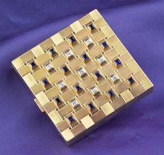 Retro 14kt Gold, Sapphire, and Diamond Compact