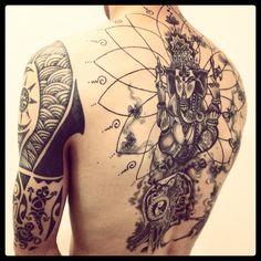Hindu Inspired Tattoo Tattoo Tattoos Hindu Tattoos Yoga Tattoos - Coloring Page Ideas Krishna Tattoo, Kali Tattoo, Cow Tattoo, Tatoo Art, Girl Back Tattoos, Cool Tattoos For Guys, Badass Tattoos, Lower Back Tattoos, Yoga Tattoos