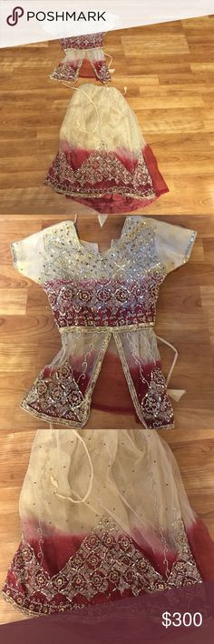 India Pakistan outfit hand beaded two-piece skirt and shirt Great for a wedding or a birthday party Matching Sets