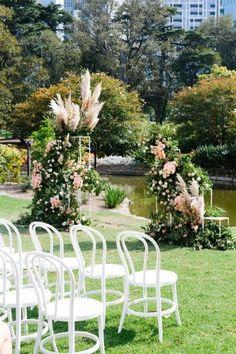 Inside an elegant Melbourne city garden wedding - Vogue Australia Wedding Sets, Elegant Wedding, Wedding Ceremony, Our Wedding, Wedding Venues, Ceremony Backdrop, Outdoor Ceremony, Time In Australia, Vogue Australia
