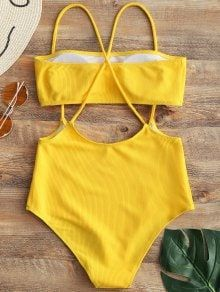 c6bc77825c892 Bandeau Top and High Waisted Slip Bikini Bottoms