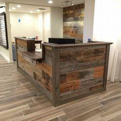 Rustic reception desk industrial custom made barn wood ideas. Rustic Cafe, Rustic Bench, Rustic Farmhouse, Rustic Decor, Rustic Backdrop, Rustic Restaurant, Rustic Curtains, Rustic Colors, Rustic Cottage