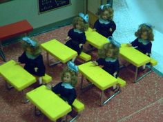MINIATURE DOLLS SCHOOL INSIDE CARDBOARD BOX