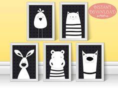 Nursery Wall Art, Cute Wall Art, Nursery Printable, Unisex Nursery, Nursery Print, Prints for Kids Room, Black White Nursery, Cute Printable
