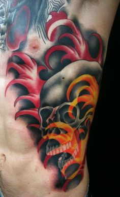 Traditional/Japanese Skull with Water Tattooed by Brandon Notch...