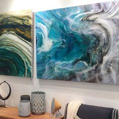 Just hung 'Beach Cove' in the @martine_gallery. Mixed media resin art 108cm x 85cm.