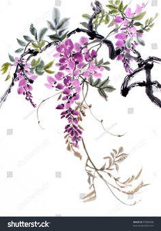 оригинальная художественная Китайская акварель живопись глициния