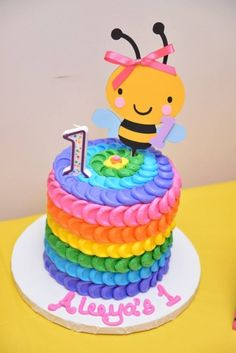 Colorful Bumble Bee Birthday Party Smash Cake Topper bumbl bee, smash cakes, birthday parties, bumble bee birthday cake, birthday idea, bumble bees, cake toppers