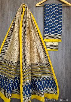 Price Rs 1600 + Shipping extra Hand block Printed chanderi silk dress materials Top and dupattas chanderi silk (2.50×2 mtrs) Bottom cotton (2.50 meters) Chanderi Suits, Chanderi Silk Saree, Patiala Suit, Churidar Suits, Silk Sarees, Anarkali Suits, Saris, Salwar Kameez, Kurta Designs Women