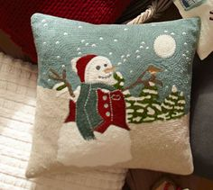 Snowman Embroidered Pillow Cover | Pottery Barn