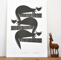 Pine Martens Printed in Warm Black - An Original Hand Pulled Gocco Print £23.50