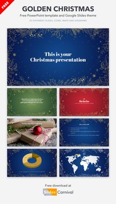 What is your favorite Christmas color? Blue, red, green, white… you can use any of them with this Christmas free presentation template. All slides have a winter foliage frame that stands out from the background thanks to its golden colors. Send your loved ones your best wishes in a special way or make Christmas greeting cards for friends, family and customers. Christmas Greeting Cards, Christmas Greetings, Cards For Friends, Golden Color, Christmas Colors, Presentation Templates, Friends Family, Red Green, Color Blue