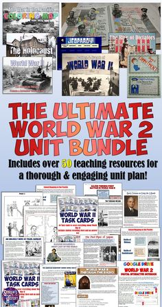 World War 2 Unit Plan Activities - OVER 20 lesson plan resources included! World History Teaching, World History Lessons, Study History, Us History, American History, History Education, History Teachers, Ancient History, Social Studies Classroom