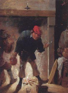 Vor Kamin stehender Bauer mit Pfeife und Krug by Matheus van Helmont