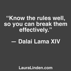 The key word here is EFFECTIVELY. Rules in business and life exist for a reason. We may not agree with them or find them to be kind or helpful but we should learn them. As we learn the rules we grow our business our mind our compassion. We gain understanding into the people and systems we interact with. We spend our time listening intently to truly hear what's happening for others. We gain much.  Then as we break the rules we do it in SERVICE and with HUMILITY. We're creative and kind. This…