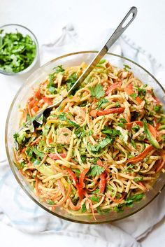 Peanut noodles with chicken salad. This healthy Asian-flavored pasta salad is one of my most popular all-in-one meals, and it's also a great side dish for potlucks and picnics. Paleo Chicken Nuggets, Potluck Side Dishes, Asian Side Dishes, Asian Recipes, Healthy Recipes, Comfort Food, Pasta Salad Recipes, Mets, Pasta Dishes