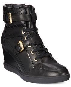 Geox D Eleni Wedge Sneakers Black Wedge Trainers 121a6e27a93f3