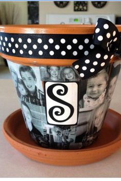 DIY Photo Collage Flower Pot