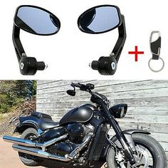 SurePromise One Pair Black Motorcycle Motorbike Scooter Bike Rear View Side Mirrors Universal Bar End Fits 7//8 22mm Handle Bars