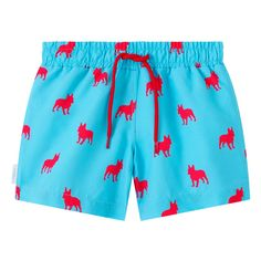Sky blue and pink French bulldog print kid's drawstring swim shorts. Available in men's sizes too, each collection from Galago Joe is dedicated to one animal, with of all profits being donated to associated charities. Kids Swimwear, Swim Shorts, French Bulldog, Sky, Pink, Blue, Collection, Fashion, Heaven
