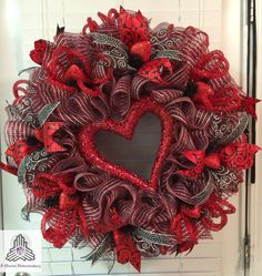 24 x 24 x 10 full and fluffy Valentines Day Red/Silver Heart Ruffle Deco Mesh Wreath hand-crafted by myself with three rolls of 10 antique