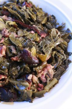 Southern, Soul food Collard Greens and Smoked Ham Hocks made in the Crock-Pot
