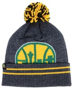 564bd7c365e16 Mitchell   Ness Seattle SuperSonics Black Heather Hi-5 Pom Knit   Reviews -  Sports Fan Shop By Lids - Men - Macy s