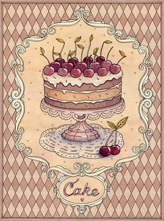 New Cake Illustration Cherry 32 Ideas Illustration Dessert, Illustration Art, Cupcake Torte, Cupcakes, Chibi Kawaii, Etiquette Vintage, Images Vintage, Kitchen Art, Food Illustrations