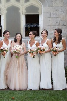 Love that the bride is in nude and ladies in white, that is beautiful!!!!!      Photography By / http://HeatherCookElliott.com