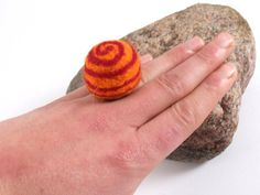 Felt Ring  Fairy Colorful Ring  Chunky Felt Ring by FeltYourself, zł50.00