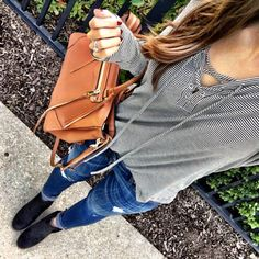 IG @mrscasual <click through to shop this outfit> Casual Lace Up Top cognac bag