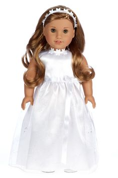 White satin communion, wedding dress with silver sparkling organza skirt, white ribbon with a bow at the waist, beautiful flowers at the neckline, matching headband and white leather like shoes.    Doll dress contains a wide back closure for easy dressing and clothing removal. Our doll clothes fits 18 inch American Girl dolls. Designed in the USA and sold Exclusively by DreamWorld Collections. DOLL(S) NOT INCLUDED U.S. CPSIA CHILDREN'S PRODUCTS SAFETY CERTIFIED