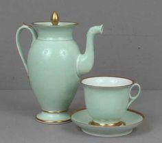 Vintage Palais Royal Paris Porcelain Tea Set. Gilt accents and rims on green ground. Teapot, teacup, saucer - Tea Pot, Tea Cup, Saucer