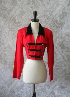 1980s Red Cropped Grunge Jacket $32