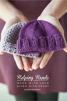 Get Some Great Free Patterns for Charity Knit Picks has released a great little ebook for charity knitting (and crochet) that includes six projects for each craft that are perfect to make and donate to the charity of your choice. The Help Baby Knitting Patterns, Baby Hats Knitting, Loom Knitting, Baby Patterns, Free Knitting, Knitted Hats, Crochet Patterns, Knitting And Crocheting, Newborn Knit Hat