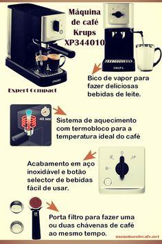 A máquina de café Krups XP344010 é bastante compacta, em apenas 40 segundos pode preparar café. Tem acessório para cappucino e deliciosas bebidas de leite. Coffee Maker Machine, Compact, Milk, Beverages