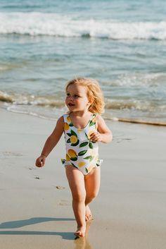 Mini ruffle leg scoop one piece swimsuit in lemon lush Little Girl Swimsuits, Cute Swimsuits, Little Girl Outfits, Cute Girl Outfits, Cute Little Girls, Kids Outfits, Baby Girls, Baby Swimwear, Baby Swimsuit