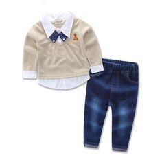 18e6daec66b4 Fashion baby boy's suit set children's clothing set handsome child Boy's  3pcs set cotton long-sleeve shirts+jeans+bow tie