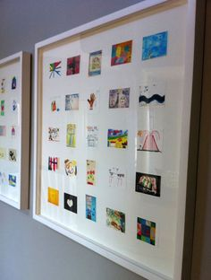 Creative Ideas For Storing & Preserving Your Kids' Schoolwork Scan childrens art work and then print out in smaller size & frame them.Scan childrens art work and then print out in smaller size & frame them.