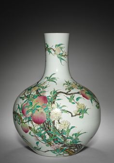 Pair of Vases, 1736-1795 China, Jiangxi province, Jingdezhen, Qing dynasty (1644-1912), Qianlong mark and period (1736-1795) porcelain with famille rose overglaze enamel decoration