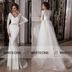 Crystaldesing 2015 Lace Mermaid Weding Dresses V-Neck Chiffon Long Modest Wedding Dresses With Sleeves Detachable Court Train Bridal Gowns, $140.91 | DHgate.com