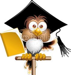 Funny #Cute #Owl #Teacher #Cartoon-#Vector © #Bluedarkat - on #Fotolia!