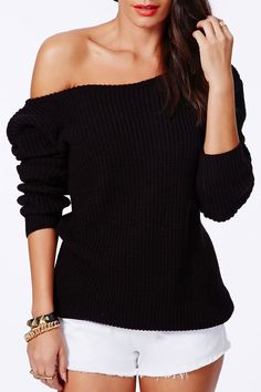 Slash Neck Solid Color Loose-Fitting Sweater